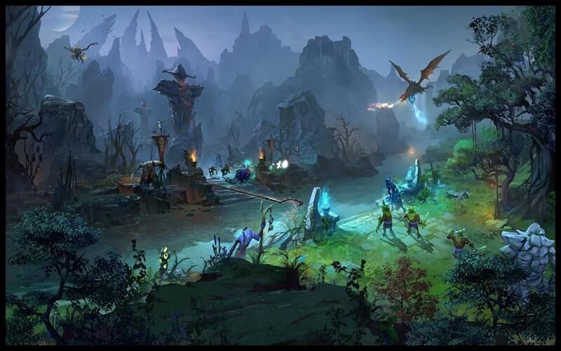 Bản đồ rộng lớn của game DOTA 2