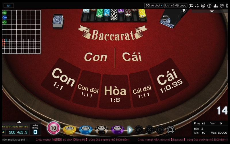 Giao diện chơi bài baccarat online