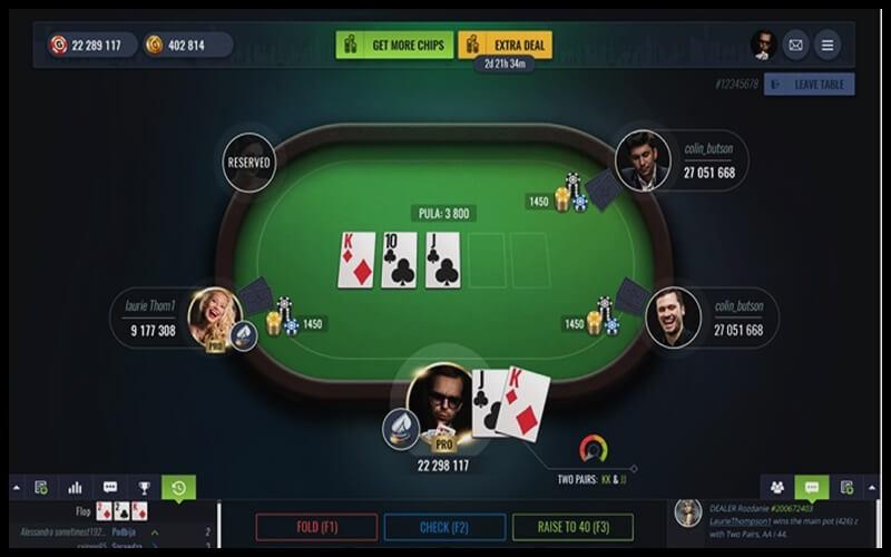 Giao diện chơi game bài poker
