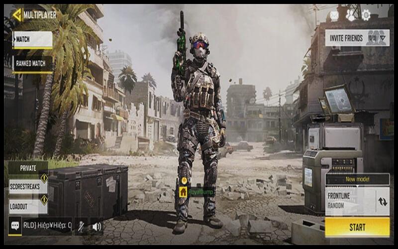 Giao diện nhân vật của game Call of Duty