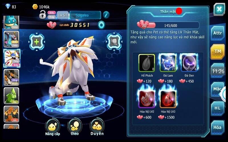 Nâng cấp pokemon trong game poke đại chiến