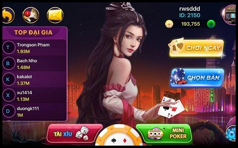 Giao diện chơi game tú lơ khơ online