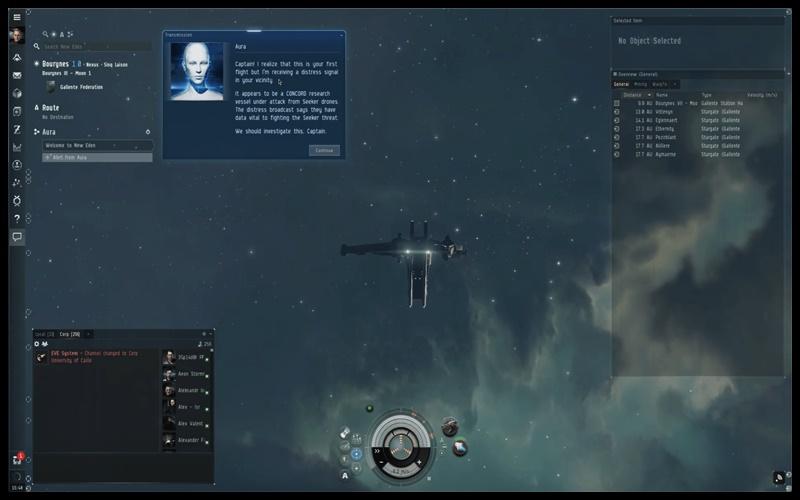 Giao diện điều khiển phi thuyền trong game EVE online
