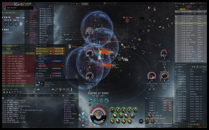Trận giao tranh giữa hai bang hội trong game EVE online