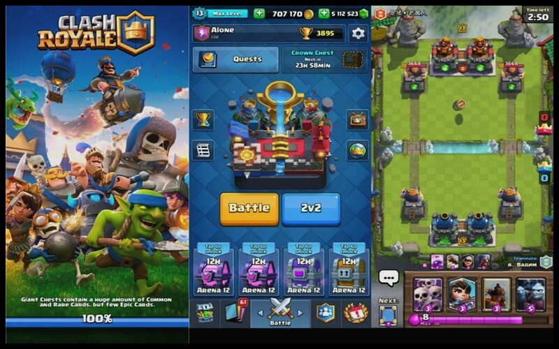 Giao diện chơi game Clash of Royale