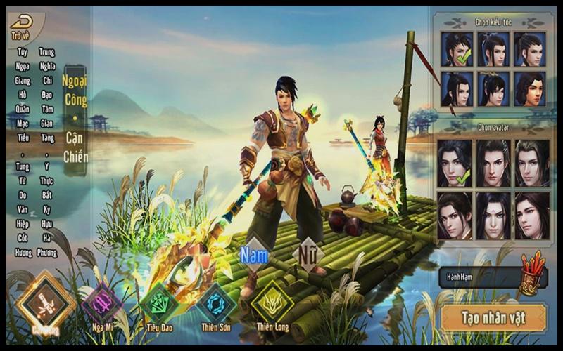 Thiết lập nhân vật và lựa chọn môn phái khi vào game